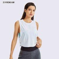Syrokan Sport Camicia da donna Pima da donna Tank Tank Tank Crop Syless Yoga Tops Correre vestiti da palestra