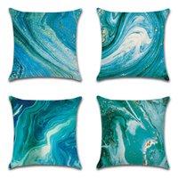 Cor do oceano de linho Cor Dazzling Abstrato Geométrico Plowhand Home Sala de estar Home Cover73U5 Almofadas Decore Capas de Almofada Impresso