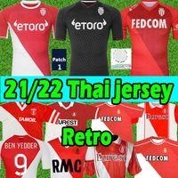 2021 2022 Monaco Futebol Jerseys 1977/1982 94 95 96 97 Tuybens Retro Jersey 90 91 92 1999-2000 Colector's Home Dalger Vintage como Ben Yedder Jovetic 21/22 Camisa de Futebol