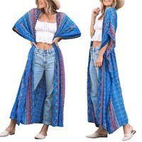 Meihuida 2021 Frauen Casual Beach Bluse Unregelmäßige Druckmuster Hälfte Ärmeln Lange Tops Blau / Gelb Plus Cover-ups Frauen Badebekleidung