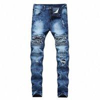 Zip plissado jeans masculinos retro calças retro drop frete homens jeans motociclista tattered denim shorts straight man d41d #