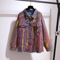 Plus Size Outerwear & Coats #3364 Denim Jacket Women 4XL 5XL XL Tie Dyed Printed Jeans Female Fashion Womens Coat Ladies