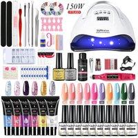 Kit per unghie Set Kit Acrilico Kit Semi Prolunga permanente Polygels con lampada UV Asciugatura per trapano
