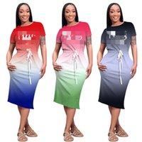 Mujeres de lujo Bodycon Vestidos Diseñador Femenino Gradiente Marca Letra Spaghetti Correa Vestido Vestido Trend Slim Casual Faldas Cortas