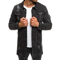 Mann Riss Bettler Denim Jacke Mode Trend Langarm Button Revers Oberbekleidung Männliche Frühling Neue Casual Slim Mittellange Denim Mäntel