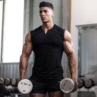 Abbigliamento da palestra con scollo a V compressione maniche camicia fitness uomo canottiera top cotone bodybuilding stringer tanktop singlet workout gilet