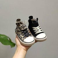 Sneakers Leopard Warm Kids Shoes Lovely Ears Baby Antiskid Casual Cotton For Boys Girls High Top Board Plush