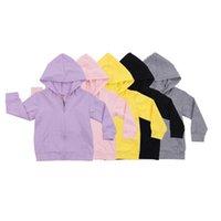 Hooded Sweatshirts Zipper Long-Sleeve Kangaroo Pocket Solid Color 0-6 Years Kids Boys Girls Outdoor Casual Coat Sportswear 210729