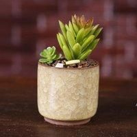 الجليد متصدع البسيطة السيراميك زهرة وعاء الملونة لطيف زهور لسطح المكتب الديكور لحمي بوعاء النباتات المزارعون DHF5853