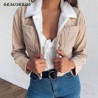 가을 2019 년 빈티지 코트와 자켓 여성 자르기 탑 코듀로이 재킷 모피 여성 화이트 자켓 Kawaii Fleece 재킷 가을 H3C3 #