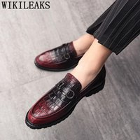 Dress Shoes Formal Men Classic Italian Coiffeur Crocodile Leather 2021 Slip Loafers Mens Ayakkabi