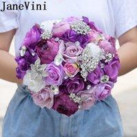 결혼식 꽃 Janevini 보라색 크리스탈 꽃다발 인공 작약 장미 신부 들러리 신부 들고 나비 보석 신부 부케