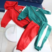 456 Number squid game tracksuit Kids Baby hoodie jacket coat and pants two piece outfits unisex green red color sportswear cosplay customes props clothing G059OFP