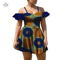 Roupas étnicas Verão África Mini Vestido para Menina Bazin Riche Bonito Backless Sling Cera Africano Impressão Elegante Sexy Vestidos WY8090