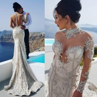 Sexy Lace Mermaid Wedding Dresses Beaded Neck Covered Button Back Long Sleeves Sweep Train Sheath Beach Long Bridal Gown