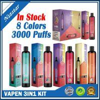 Vapen 3000Puffs E-Zigaretten 3in1-Kits Einweg-Vape-Stift 3 in 1 Vaporizer 1400mAh-Batterie Vorgefüllt 3 * 3,2ml 3 * 1000Puffs Airflow-System Tragbare Gerätekit