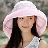 Mujeres elegante mezcla de algodón portátil ancho de ancho velo anti urocrédito ajustable cuerda sol sombrero de playa verano al aire libre camping sombreros