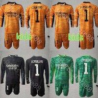 Çocuk Kiti 2021 2022 Uzun Kollu Erkek Gençlik 1 Courtois Futbol Formaları Set Mavi Kaleci Çocuk Lker Casillas Jersey