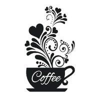 Wall Stickers Living Room Decoration Bedroom Carved Restaurant DIY Self Adhesive Kitchen Art PVC Coffee Cups