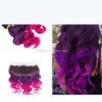 Ohr zu Ohr volle Spitze Frontal mit Körperwelle Jungfrau Haarwege ombre 1b lila rosa Haarbündel mit Spitze Frontalverschluss