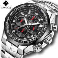 Wwoor uhr männer top marke luxus schwarz sport chronograph clock mode militärisch grand quarz y stahl uhr reloj hombre