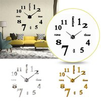 Large Size Wall Clock DIY 3D Sticker Silent Digital Watch Acrylic Mirror Stickers Decal Home Office Decorations Clocks