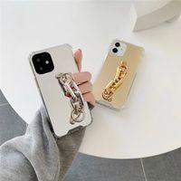 Casos de telefone protetora à prova de choque vista espelho de espelho shell strap capa capa capa para iphone 8plus xr x max 11 12 pro