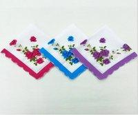 Mendil Renkler Crescent Baskılı Mendil Pamuk Çiçek Hankie Çiçek Işlemeli Mendil Renkli Bayanlar Cep Havlu HHC6849