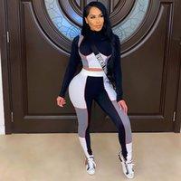 Kadın Patchwork Sıska Eşofman Iki Parçalı Aktif Aşınma Seti Kırpma Üst Yoga Legging Spor Spor Takım Elbise Mujer Koşu Spor Eşleştirme Suits Spor Salonu Sweatsuit 0027