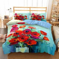 Bedding Sets Flower Bed Linens Blooming Poppies Set Fashion Bedclothes Duvet Cover 2 3pcs Pillowcase Queen King Size No Sheet