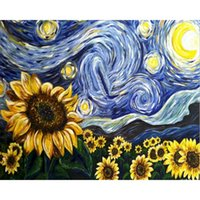Dipinti FAI DA TE STARRY Sky Sunflower Paint By Numbers Canvas Painting Cornici Kit per Moden Wall Art Decorazione domestica