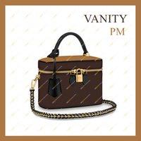 2021 السيدات مصمم أزياء عالية الجودة أعلى 5a الغرور PM أكياس التجميل M45165 يتناقض لون قفل حقيبة الكتف حقيبة رسول حقائب في الأوراق المالية