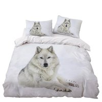 Bedding Sets White Wolf Set Bedroom Decor Doona Quilt Cover Snow Background Hypoallergenic 1PC Duvet With Pillowcase