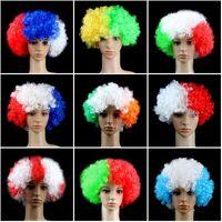 1000pcs Bandiera nazionale Colori Calcio calcio Fanswigs Capovolta Copricapo Circo Clown Cosplays Joker Droll Costume Party Party