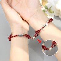 Charm Bracelets 2021 Stainless Steel Heart Magnet Attractive Couple Bracelet Love Lovers Cotton Rope Friendship