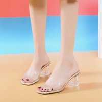 Slippers Women Shoes Crystal Clear Transparent Female Middle Heels Comfortable Summer Woman Fashion Cool Mules Slides
