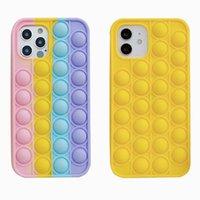Pop it fidget case einzigartige 3D dekompression telefon etforderungen des iphone 12 mini pro 11 xr xs max x 10 8 7 plus schieben weiche silikon regenbogen mode mobilphone hinter haut mobile abdeckung