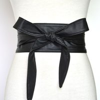 PU Leather Wide Belt Big Bowknot Bandage Slim Girdle Women Leisure Dress Coat Waistband Lace Up Belts