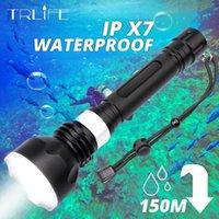 المهنية الغوص XML-T6 L2 الأصفر الأبيض المحمولة الغوص الشعلة 150 متر تحت الماء IPX7 للماء باستخدام 18650 مصباح يدافع torc المشاعل