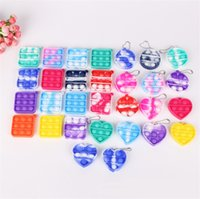 2021 fidget dimple toys keychain Favor children Push decompression toy silicone camo rainbow rodent pioneer Anti Stress Bubbles Board key chain