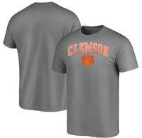 Clemson Tigers мужская футболка хлопчатобумажная ткань круглый воротник, свободные, дышащие печати MNE Campus серый