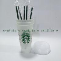 50 шт. Starbucks 24oz / 710 мл пластиковый тумблер многоразовый чистый питьевой плоский нижний чашка стойки в форме крышкой солома кружка Бардиан