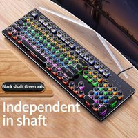 Gaming Mechanical Keyboard Punk Round Retro Backlit USB Wire...