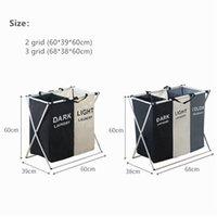 접이식 더러운 세탁 바구니 주최자 X 모양 인쇄 된 접을 수있는 3 개의 그리드 홈 세탁 방지 Sorter 세탁 바구니 큰 GWD5847