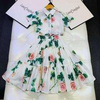 Tshirt+Skirt Girls Fashion Luxury Designer Clothes 2021 Sister Summer Short Sleeve Floral Print Girls Dress S01