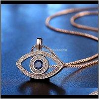 Pendenti Gioielli Drop Consegna 2021 Luxury Blue Cubic Zirconia Collana Eye Eye Collana per le donne Plated Sier Gold Crystal Rhinestone Ciondolo Collo