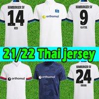 2021 2022 Hamburger SV Soccer Jerseys Accueil Blanc Bleu 21/22 HSV Männer Kinder Kinder Men Hommes Kits Kits Ensembles Ensembles En Jersey Football Shirts Uniformes