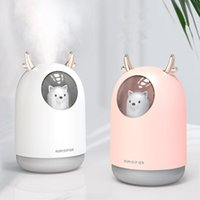 Humidifiers Home Appliances USB Humidifier 300ml Cute Pet Ultrasonic Cool Mist Aroma Air Oil Diffuser Romantic Color LED Lamp Humidificador