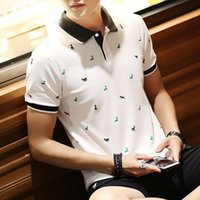 Handsome Korean Men's Cotton Youth Short-sleeved Outfit Trend New Shirt Summer Polo Casual Lapel Uqsoh