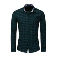2020 Été automne nouveau manche longue manche intelligente chemise à carreaux décontractés hommes 100% coton boutonnage baissement robe régulier chemises de marque mâle vêtements